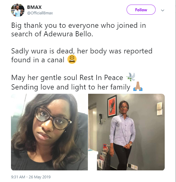 Terrible! Body of missing young lady found dead inside Lagos canal
