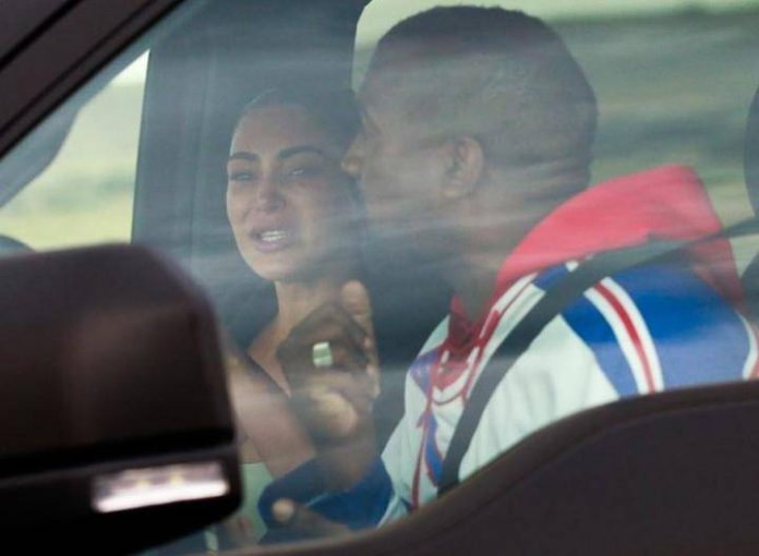 Kim Kardashian in tears as she reunites with Kanye West