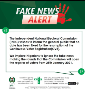 Ignore fake news on CVR, INEC urges Nigerians