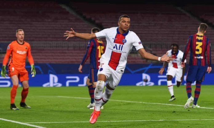 Mbappe hat-trick helps PSG thrash Barcelona