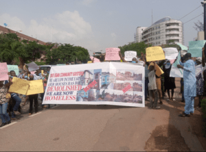 Lagos Community stages protest at Assembly complex, demands compensation over demolished property
